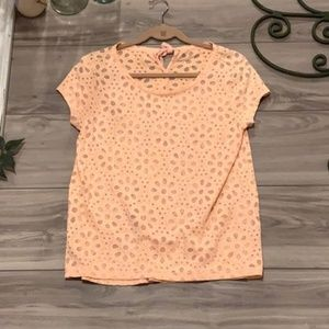 LOFT Peach Blouse w/ Flower Cut-outs